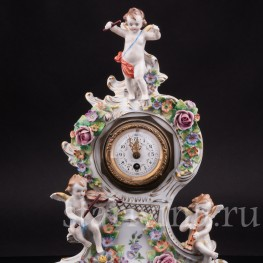 Старинные фарфоровые часы Божественная музыка, Дрезден, Германия, вт. пол. 20 в.