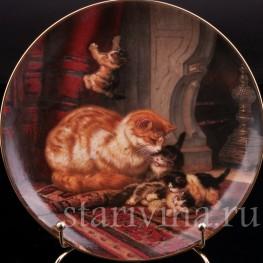 Декоративная фарфоровая тарелка Игры котят, W. J. George, Великобритания, 1991 г.